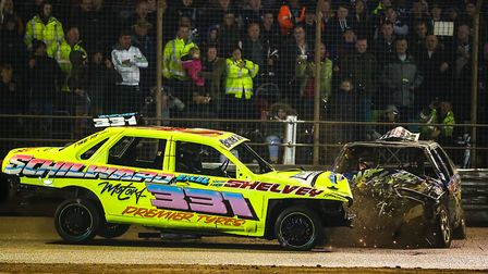 A large crowd watching the Banger world final at Foxhall Stadium