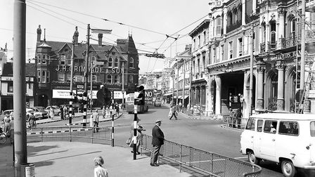 The Cornhill, Ipswich, in around 1960. On the right is Lloyds Avenue and Westgate Street is in the b