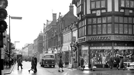 The junction of Upper Brook Street and Tavern Street in 1965. Picture: DAVID KINDRED