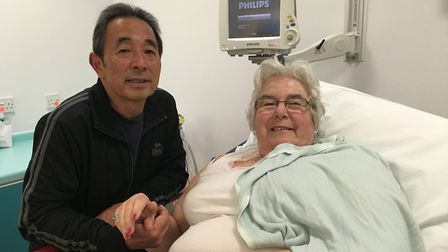 Jill James, pictured with partner John King, was taken to Ipswich Hospital after she collapsed at ho