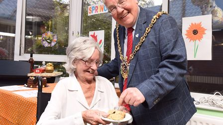 Ipswich Mayor Roger Fern visits Monmouth Court's Easter bake off. Olive Prior with Mayor Roger Fern.