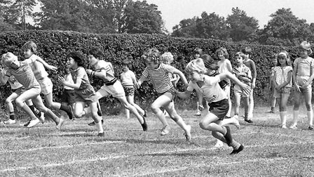 A race on the school playing field at Britannia Road Primary School in 1977.