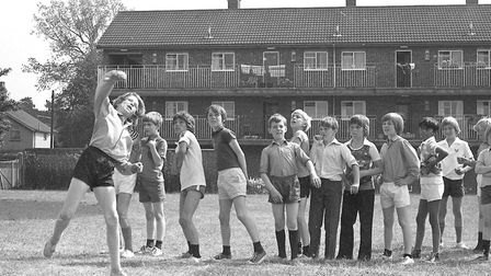 Boys line up to practice their bowling at Britannia Road, School, Ipswich, in 1977.