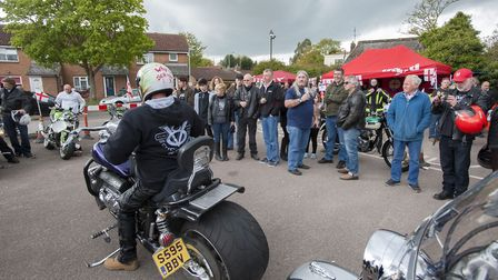 10th annual St George's Day Charity Bike Show and Meet at The Bell Inn in Kesgrave. Visitors check