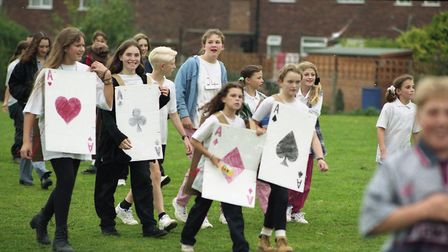 Pupils dressed in playing cards in the Chantry Fun Run in October 1995