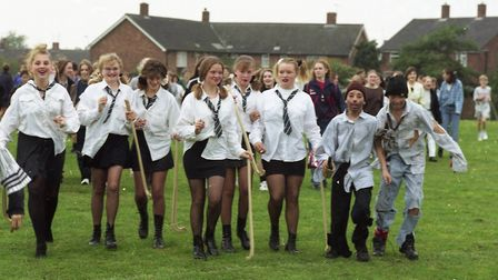 Students marching around the school field