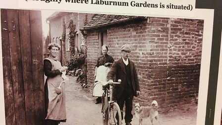 An old photograph taken in The Drift, Rushmere St Andrew, on display in the Then and Now exhibition