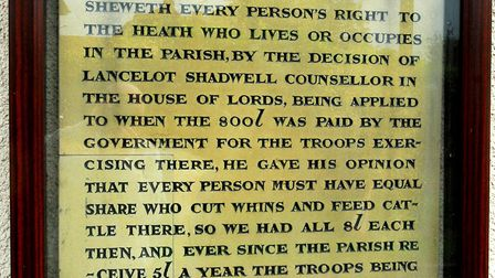The tablet on the wall of Rushmere Baptist Church outlining the rights of commoners. Picture: DAVID