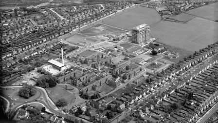 The Heath Road Hospital site from the air in the early 1970s as the Maternity block was being built.