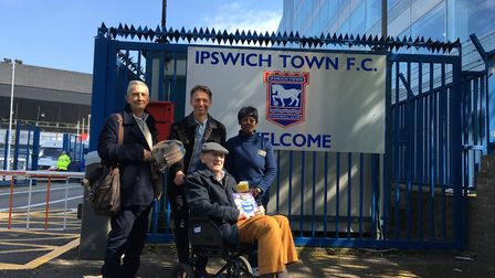 Jesse Webb (front) at Portman Road for the Ipswich Town v Sheffield Wednesday match. The 101-year-ol