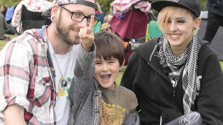Having fun at the May Day Festival on Sunday at Alexandra Park, Ipswich.David and Charlie Connor wi