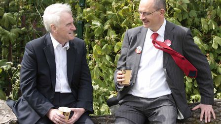 Sandy Martin, right, met Shadow Chancellor John McDonnell at the Ipswich May Day Festival on Sunday.