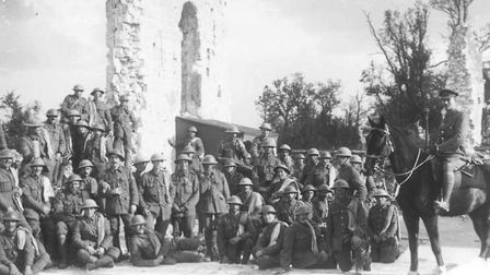 7th (Service) Battalion The Suffolk Regiment in the ruins of Tilloy after the Battle of Arras. Pic