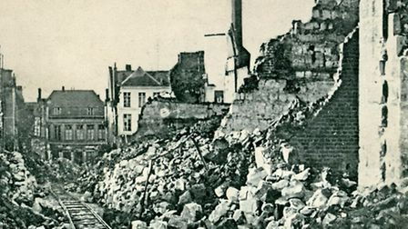 A postcard showing the damage caused to the French town of Arras during The Great War