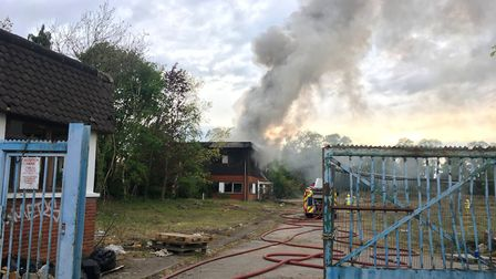 The fire at the former Manganese Bronze plant on Hadleigh Road, Ipswich, on April 30. Picture: MATT