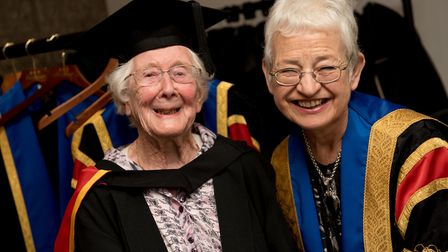 Freda Smith with Jacqueline Wilson at the honorary graduation ceremony. Picture: CHRIS PERRY
