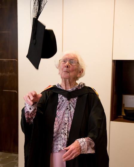 Freda throws her cap in the air during the event in London. Picture: CHRIS PERRY