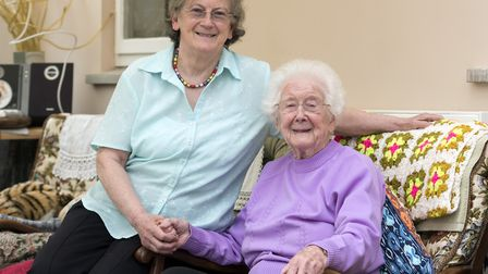 Freda Smith at her home in Ipswich with her daughter Zoe Story. Picture: ASHLEY PICKERING