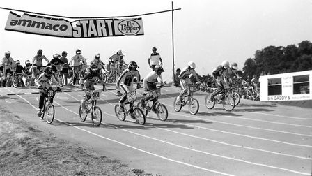 The fast-paced race gets underway at Landseer Park in 1984