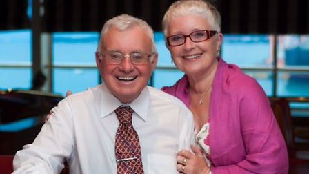 Karen Hinton's father Terry, who died after a prolonged battle with dementia, alongside wife Carol