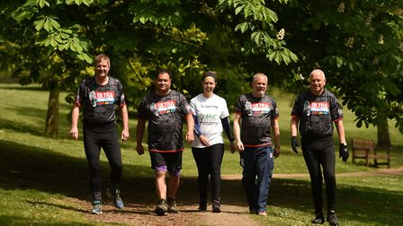 A group of five people from Ipswich are taking on the London to Brighton charity walk. L-R: Mark Ada