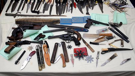 Weapons handed in to amnesty bins across Waveney. Picture: CONTRIBUTED