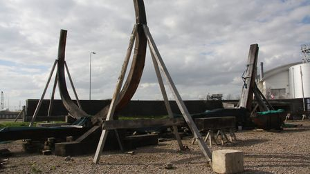 The Mayflower reconstruction shows the keel, laid with the first of the ribs standing tall. Picture: