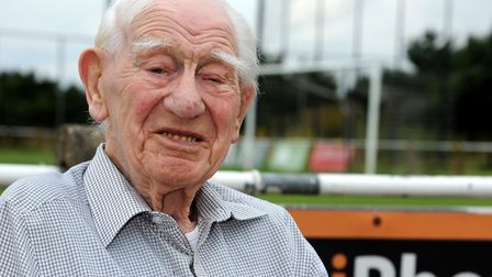 101-year-old Jesse Webb at the Pro-Celeb football match held at Woodbridge Football Club in aid of t