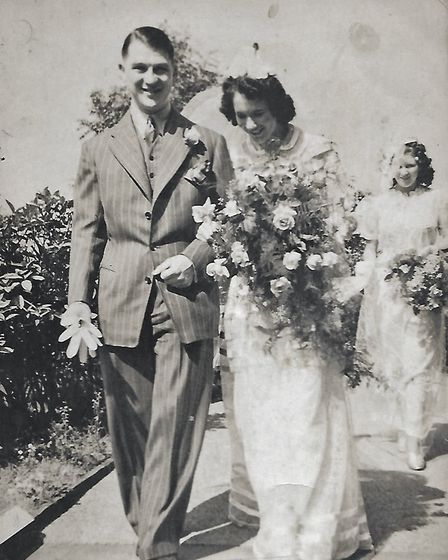 Jesse Webb's wedding to Bessie Waterfall, in Sheffield, before he went to war. Picture: CONTRIBUTED