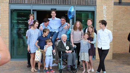 Jesse Webb celebrates his birthday with all his great grandchildren. Picture: CONTRIBUTED