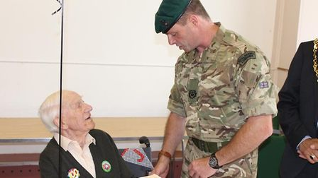 Former Royal Marine Jesse Webb meets the latest generation of servicemen. Picture: CONTRIBUTED