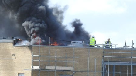 Fire broke out on the roof of a building at Lady Lane Industrial Estate, Hadleigh. Piture: DAVE ROBE