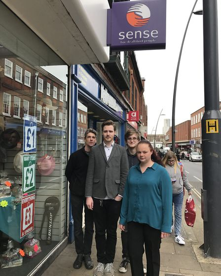 Sense staff outside the charity's Ipswich branch in Lower Brook Street. Picture: EMILY TOWNSEND
