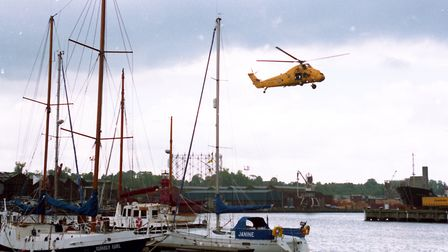 An RNLI helicopter doing an air display at Ipswich docks in 1994