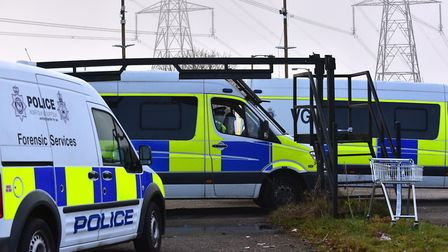 Police at the West Meadows travellers' site. Picture: ARCHANT