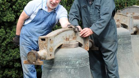(L-R) Roger Coley and John Girt with the bells from St Margaret's Church in Ipswich. Picture: SARAH