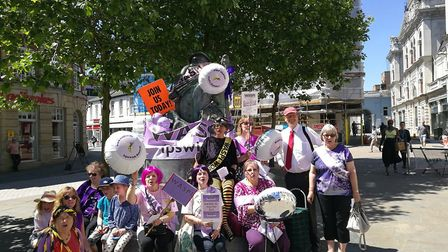 The Ipswich branch of Women Against State Pension Inequality mark the 'national day of local action'