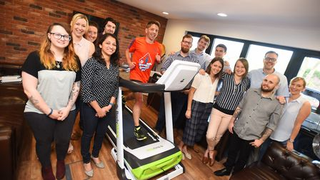 Members of StrategiQ Marketing Ltd - a business in Brightwell - are running the distance between the