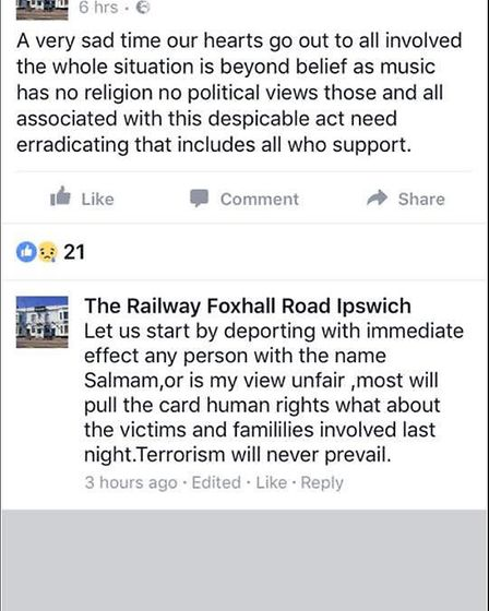 A screenshot of comments posted from the Facebook account of The Railway pub in Foxhall Road, Ipswic