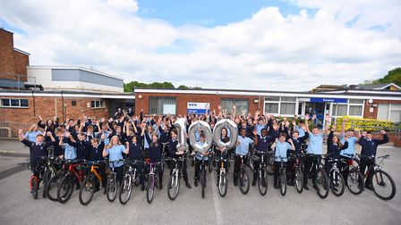 100 Kesgrave High School children to mark 100 days until the Tour of Britain starts. Picture: GREGG