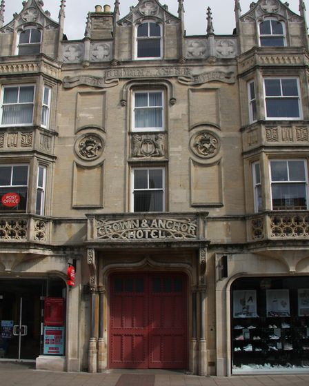 The old Crown & Anchor building in Westgate Stree,t showing the façade with the retained entrance do