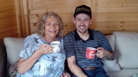 Here I am enjoying a cup of tea with Annie, who owns the Fat Cat in Ipswich with husband John. Me an