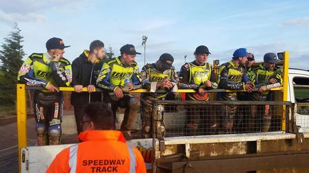 Ipswich Witches boys on the truck after their fine win at Scunthorpe