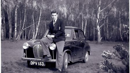 Young David Coe with his first car, an Austin A30