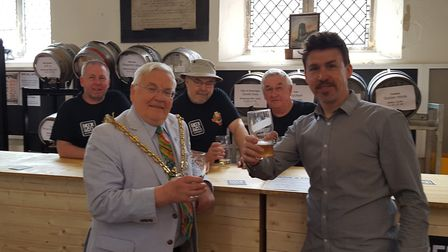 Ipswich mayor Roger Fern is pictured with Greg Cooper at the Saints' Beer and Folk Festival. Picture