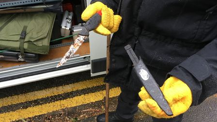 A knife discovered by police around Alderman Road Recreation Ground in Ipswich. Picture: ADAM HOWLET