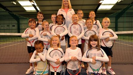 Elena Baltacha with members from her academy. Picture: JULIAN SINNEY