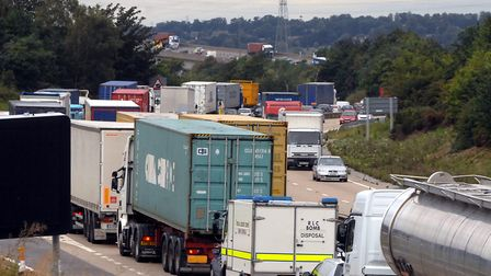 Heavy traffic over the Orwell Bridge. Picture: LUCY TAYLOR