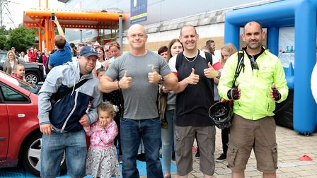 Ross Kemp meets some of the first shopper to enter the new Go Outdoors Ipswich superstore. Picture G