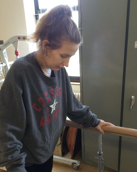 Jessica has made huge progress but still has difficulties with balance and walking. Picture: CHRIS